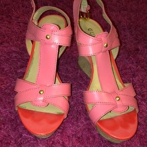 Guess Pink Wedge Sandals